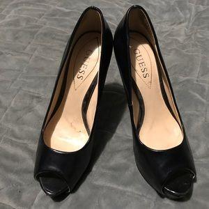 GUESS black peep heels, size 6 (wears like a 6.5)